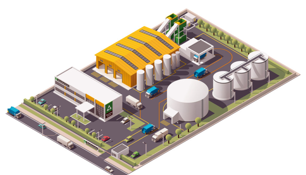 Isometric icon set representing garbage recycling plant